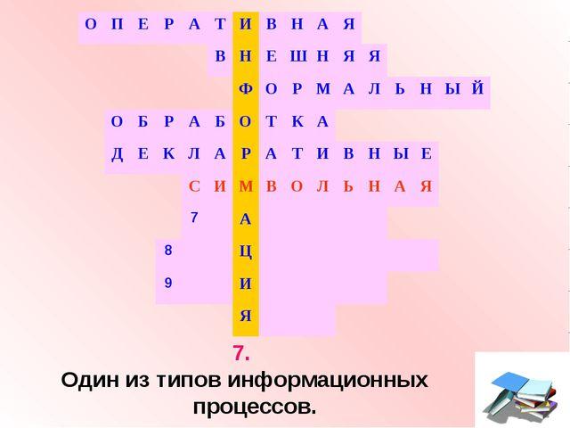 7. Один из типов информационных процессов. ОПЕРАТИВНАЯ В...