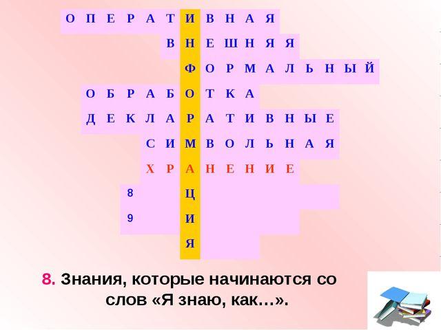 8. Знания, которые начинаются со слов «Я знаю, как…». ОПЕРАТИВНАЯ...