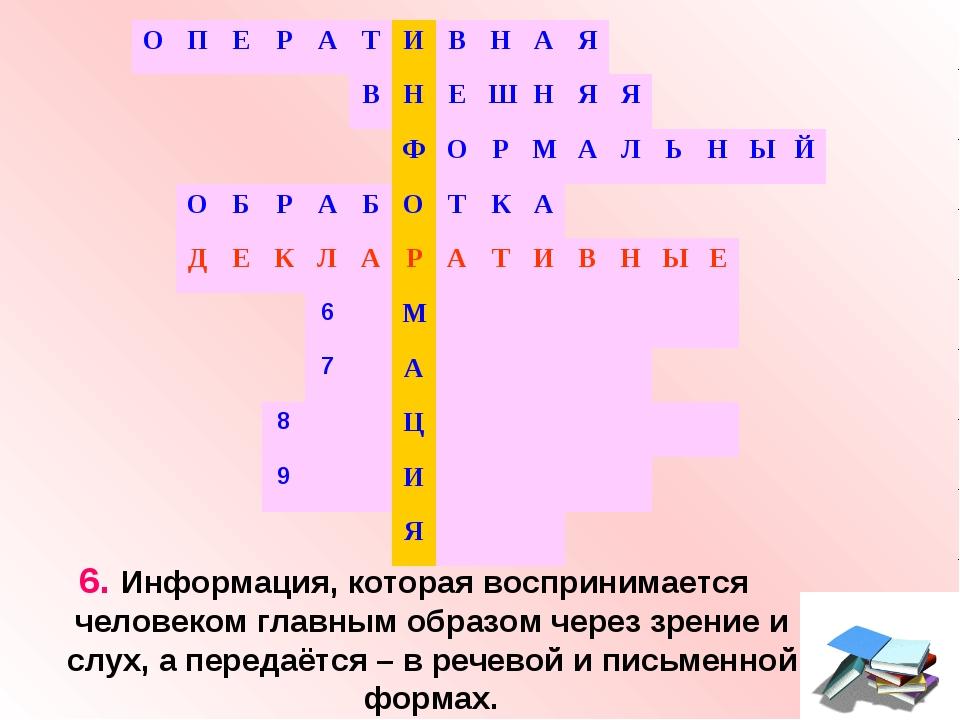 6. Информация, которая воспринимается человеком главным образом через зрение...