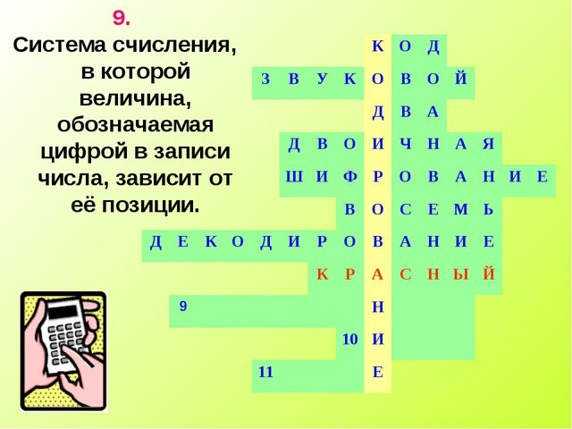 9. Система счисления, в которой величина, обозначаемая цифрой в записи числа,...