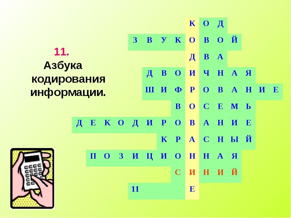 11. Азбука кодирования информации. КОД ЗВУКОВОЙ...