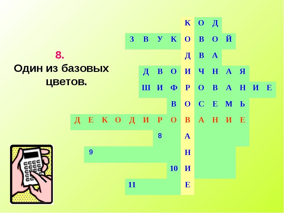 8. Один из базовых цветов. КОД ЗВУКОВОЙ Д...