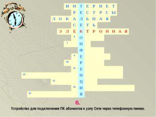 6. Устройство для подключения ПК абонентов к узлу Сети через телефонную линию