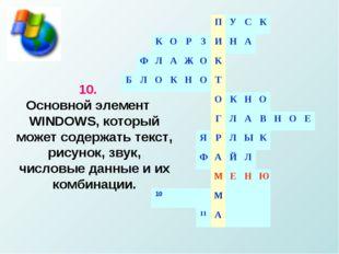 10. Основной элемент WINDOWS, который может содержать текст, рисунок, звук, ч