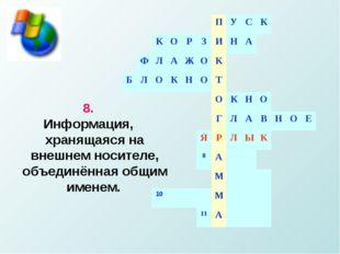 8. Информация, хранящаяся на внешнем носителе, объединённая общим именем.