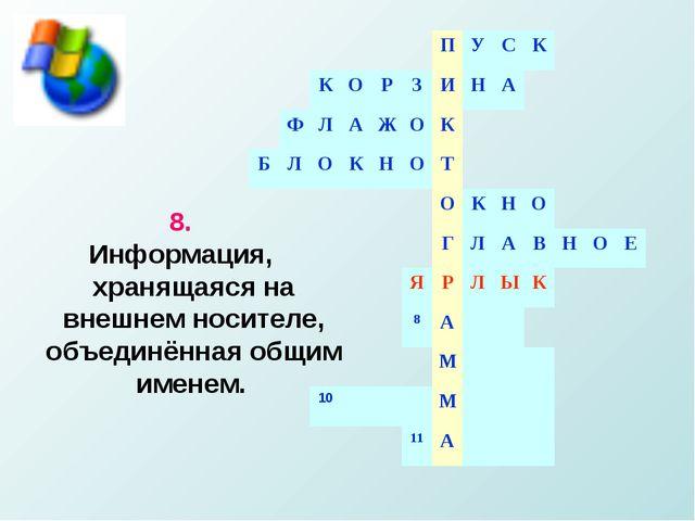 8. Информация, хранящаяся на внешнем носителе, объединённая общим именем....