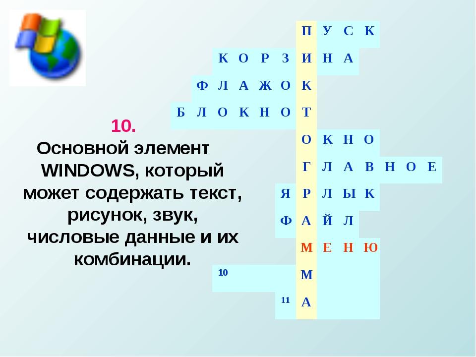 10. Основной элемент WINDOWS, который может содержать текст, рисунок, звук, ч...