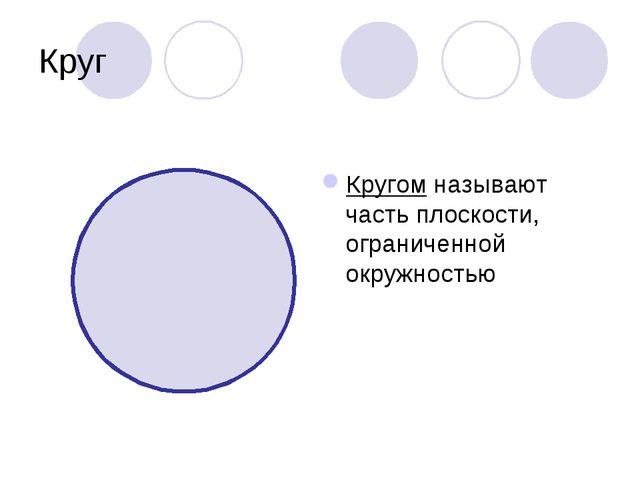 Круг Кругом называют часть плоскости, ограниченной окружностью
