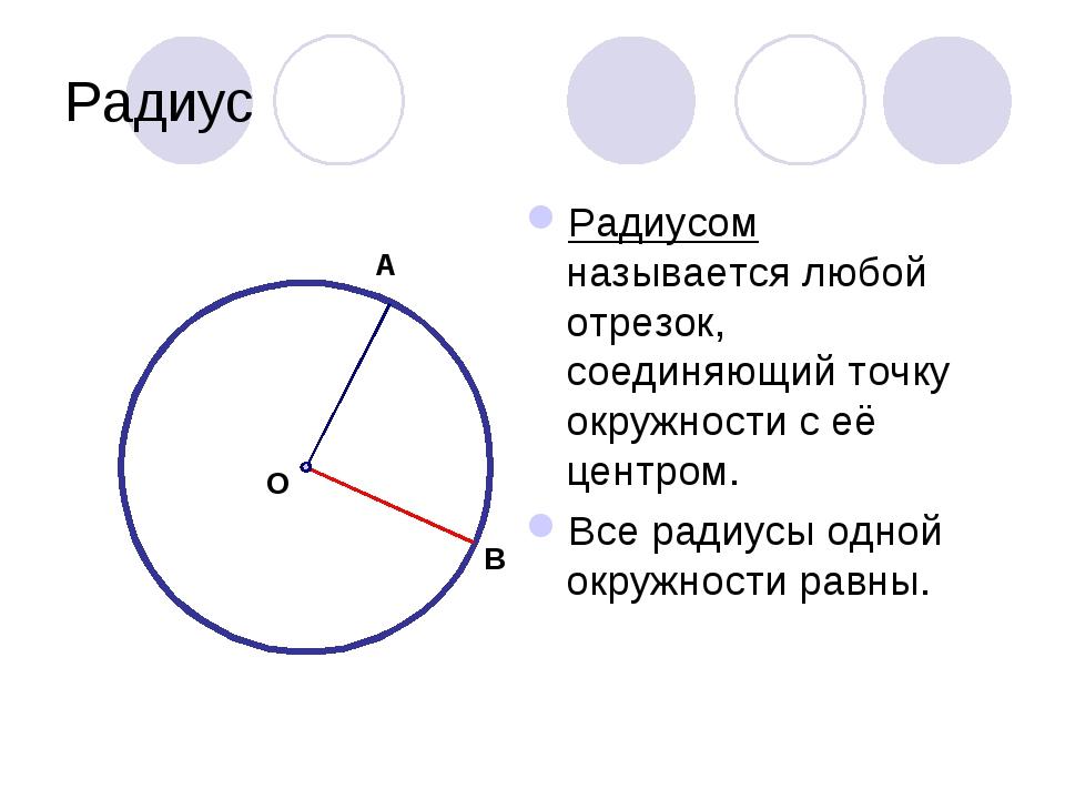Радиус Радиусом называется любой отрезок, соединяющий точку окружности с её ц...