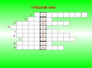 «Абылай хан» 1 2 3 4 5 6 7 Ы Л А Й Х А Н 8 9