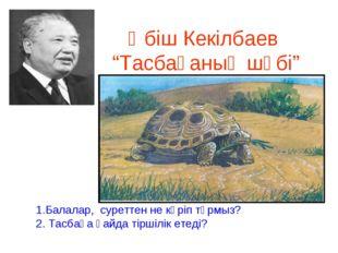 """Әбіш Кекілбаев """"Тасбақаның шөбі"""" 1.Балалар, суреттен не көріп тұрмыз? 2. Тас"""