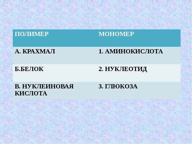 ПОЛИМЕР МОНОМЕР А.КРАХМАЛ 1. АМИНОКИСЛОТА Б.БЕЛОК 2. НУКЛЕОТИД В. НУКЛЕИНОВАЯ...