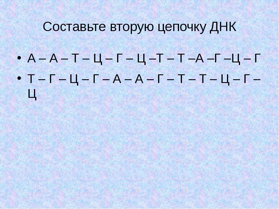 Составьте вторую цепочку ДНК А – А – Т – Ц – Г – Ц –Т – Т –А –Г –Ц – Г Т – Г...