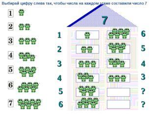 7 1 2 6 5 3 4 3 4 5 ? 6 ? Выбирай цифру слева так, чтобы числа на каждом этаж