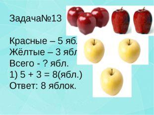 Задача№13 Красные – 5 ябл. Жёлтые – 3 ябл. Всего - ? ябл. 1) 5 + 3 = 8(ябл.)