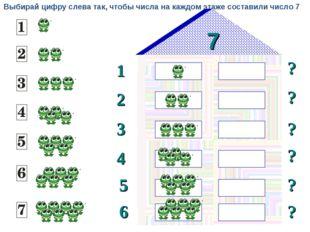 7 1 2 ? ? 3 ? ? 4 5 ? 6 ? Выбирай цифру слева так, чтобы числа на каждом этаж