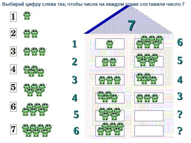 7 1 2 6 5 3 4 3 4 5 ? 6 ? Выбирай цифру слева так, чтобы числа на каждом этаж...