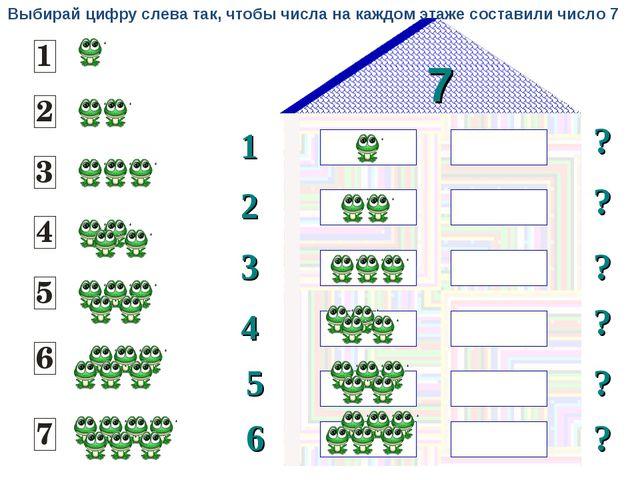 7 1 2 ? ? 3 ? ? 4 5 ? 6 ? Выбирай цифру слева так, чтобы числа на каждом этаж...