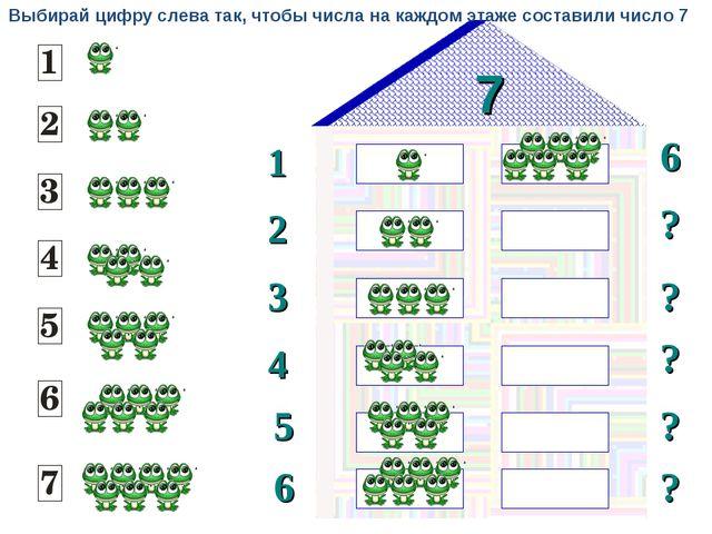 7 1 2 6 ? 3 ? ? 4 5 ? 6 ? Выбирай цифру слева так, чтобы числа на каждом этаж...