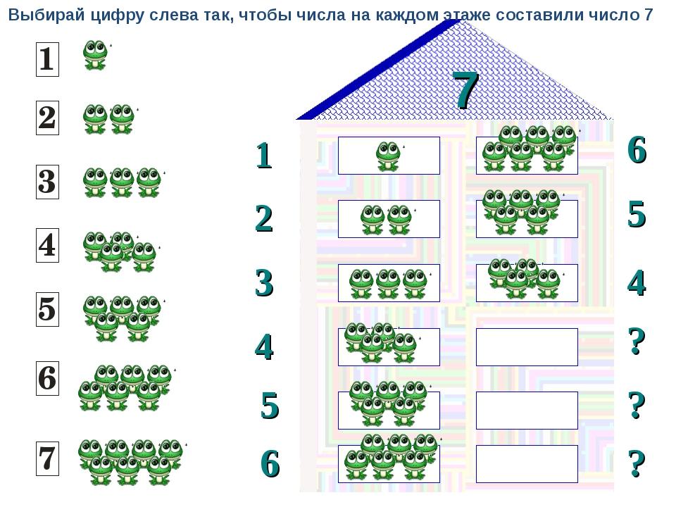 7 1 2 6 5 3 4 ? 4 5 ? 6 ? Выбирай цифру слева так, чтобы числа на каждом этаж...