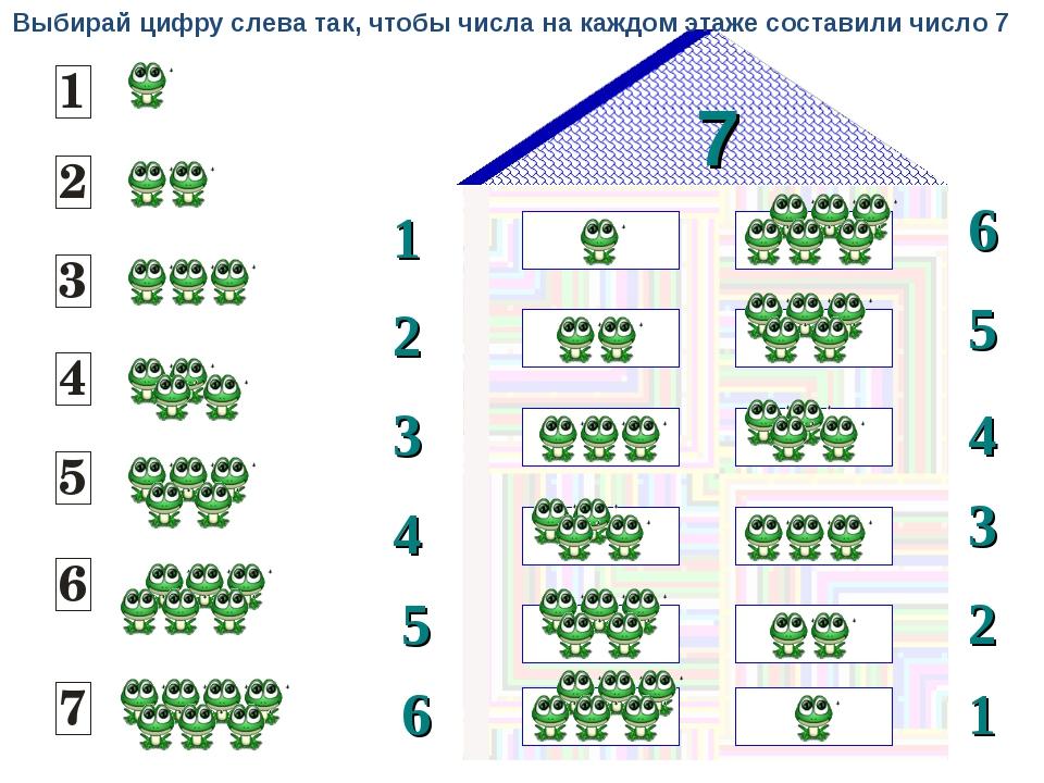 7 1 2 6 5 3 4 3 4 5 2 6 1 Выбирай цифру слева так, чтобы числа на каждом этаж...