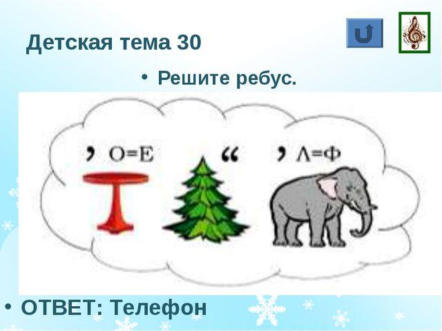 Детская тема 30 Решите ребус. ОТВЕТ: Телефон
