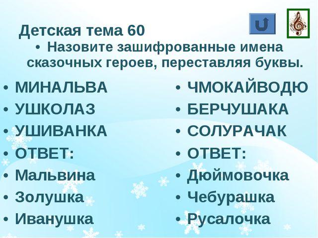 Детская тема 60 Назовите зашифрованные имена сказочных героев, переставляя бу...