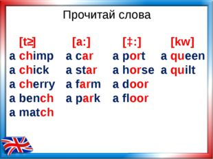 Прочитай слова [tʃ] a chimp a chick a cherry a bench a match [a:] a car a sta