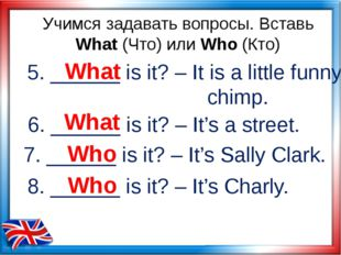 5. ______ is it? – It is a little funny chimp. What Учимся задавать вопросы.