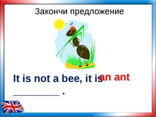 It is not a bee, it is ________ . an ant Закончи предложение