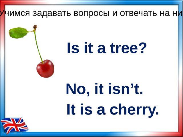 Is it a tree? No, it isn't. Учимся задавать вопросы и отвечать на них It is a...