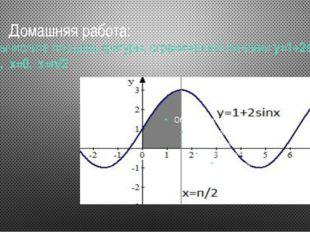 № 4.Вычислите площадь фигуры, ограниченной линиямиу=1+2sin x, у=0, x=0,
