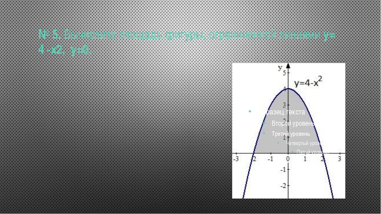 № 5.Вычислите площадь фигуры, ограниченной линиямиу= 4 -х2, у=0,