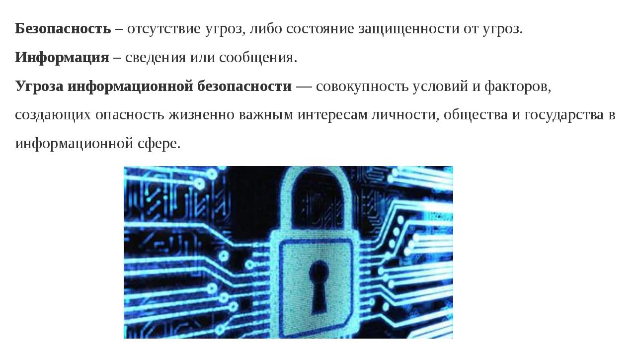 Безопасность – отсутствие угроз, либо состояние защищенности от угроз. Информ...