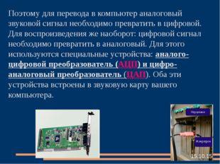 Поэтому для перевода в компьютер аналоговый звуковой сигнал необходимо превра