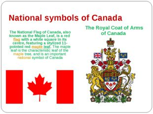 National symbols of Canada The National Flag of Canada, also known as the Map