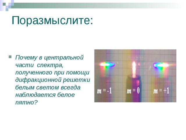 Поразмыслите: Почему в центральной части спектра, полученного при помощи дифр...