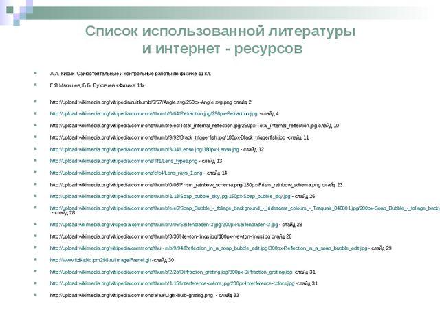 Список использованной литературы и интернет - ресурсов А.А. Кирик Самостоятел...