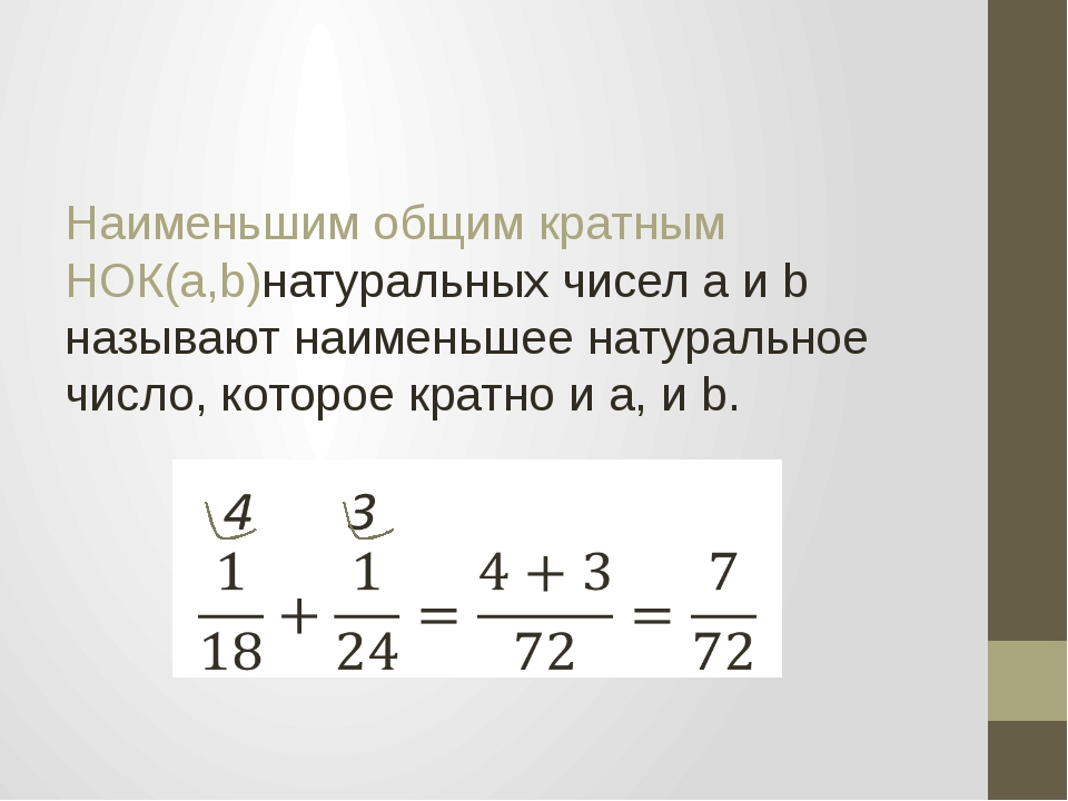 Наименьшим общим кратным НОК(a,b)натуральных чисел a и b называют наименьшее...