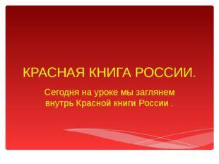 КРАСНАЯ КНИГА РОССИИ. Сегодня на уроке мы заглянем внутрь Красной книги Росси