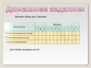 Заполнить таблицу для г. Воронежа § 40, ответить на вопросы стр.134