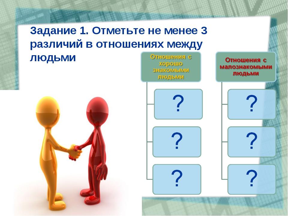 Задание 1. Отметьте не менее 3 различий в отношениях между людьми