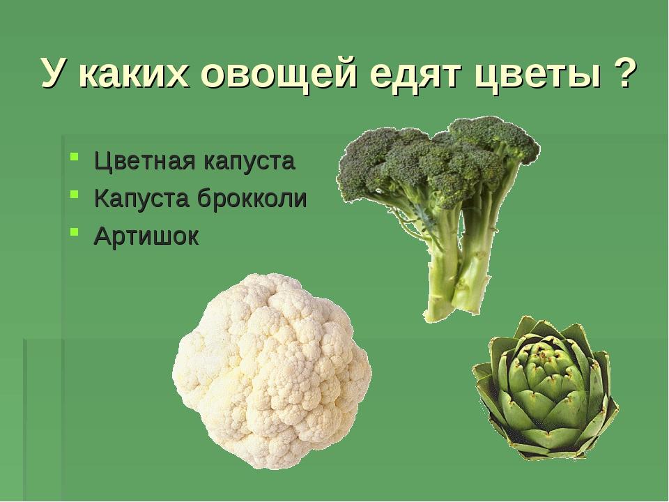 У каких овощей едят цветы ? Цветная капуста Капуста брокколи Артишок