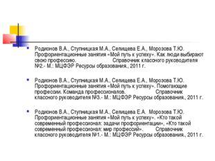 Родионов В.А., Ступницкая М.А., Селищева Е.А., Морозова Т.Ю. Профориентационн