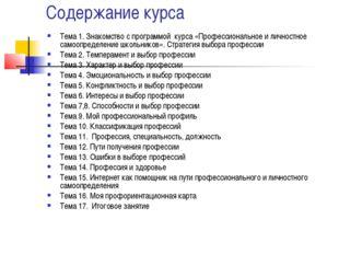 Содержание курса Тема 1. Знакомство с программой курса «Профессиональное и ли