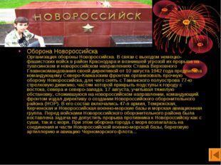 Оборона Новороссийска Организация обороны Новороссийска. В связи с выходом не