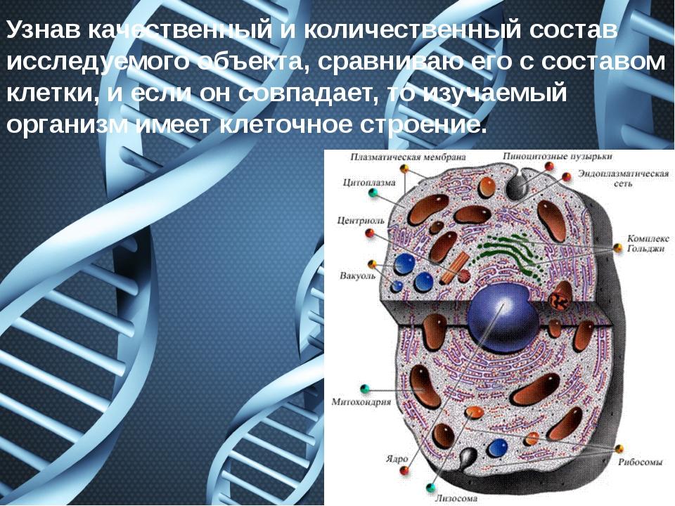 Узнав качественный и количественный состав исследуемого объекта, сравниваю ег...
