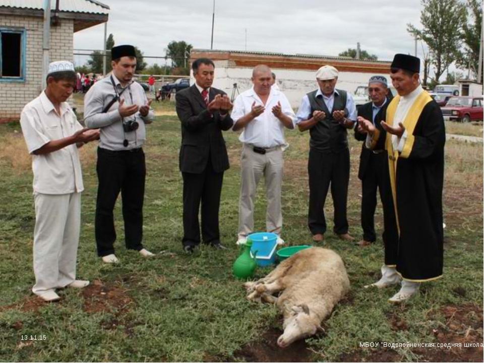 """Перед тем, как резать животное, над ним читают специальную молитву. МБОУ """"Вод..."""