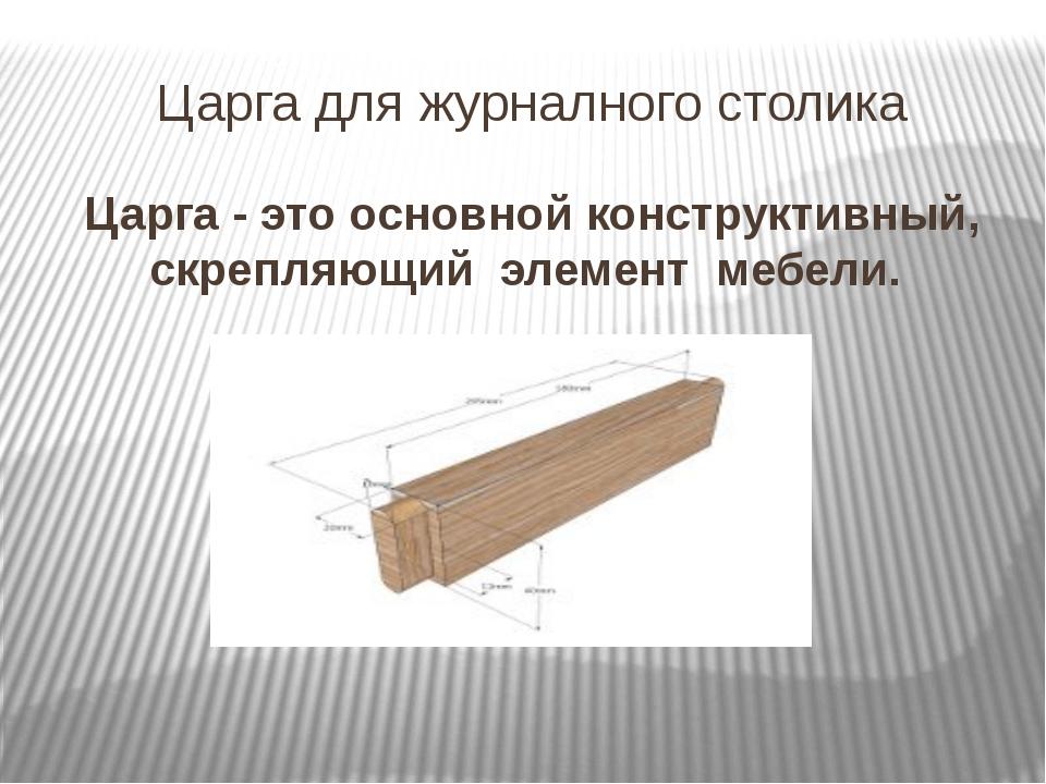 Царга для журналного столика Царга - это основной конструктивный, скрепляющий...