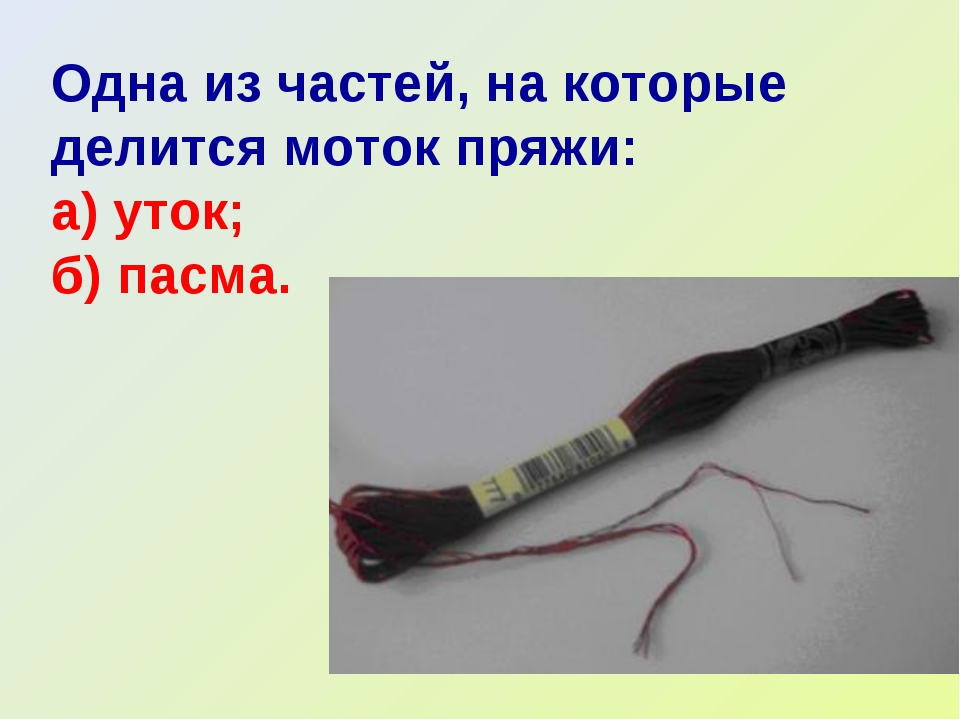 Одна из частей, на которые делится моток пряжи: а) уток; б) пасма.